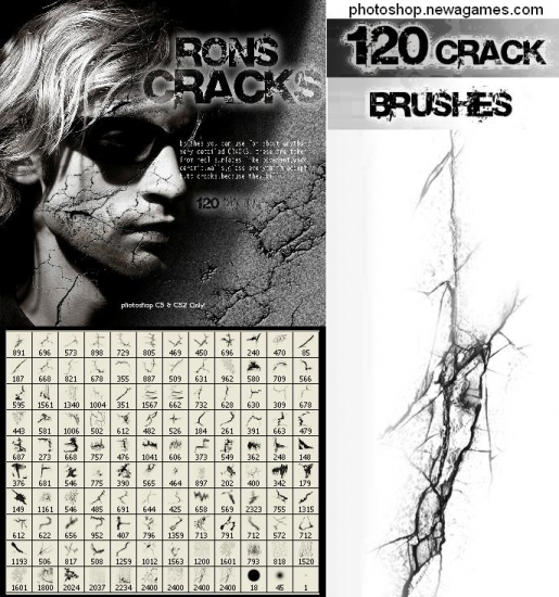 PhotoShop üçün fırça: Çatlar (Rons Cracks)